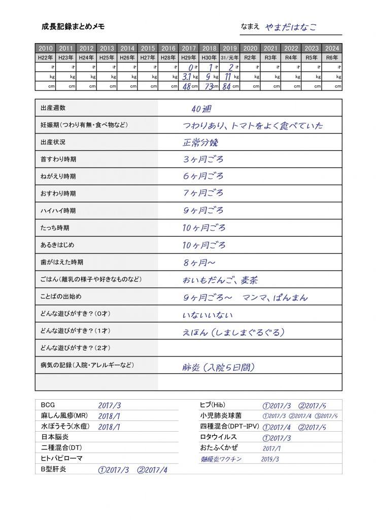 育児記録メモの記載見本